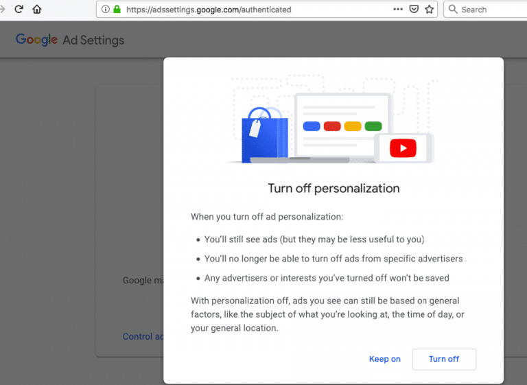 Google ad settings turn off personalization