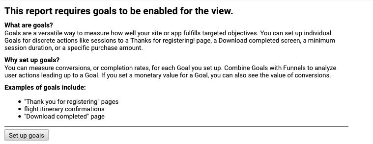 Setting up goals for first time in Google Analytics