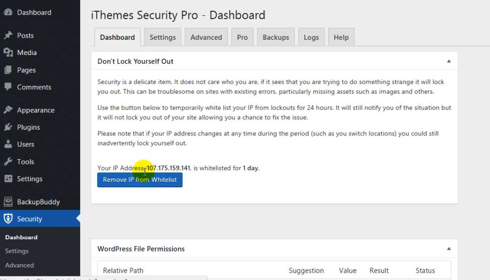 Ithemes-Security-Pro-dashboard