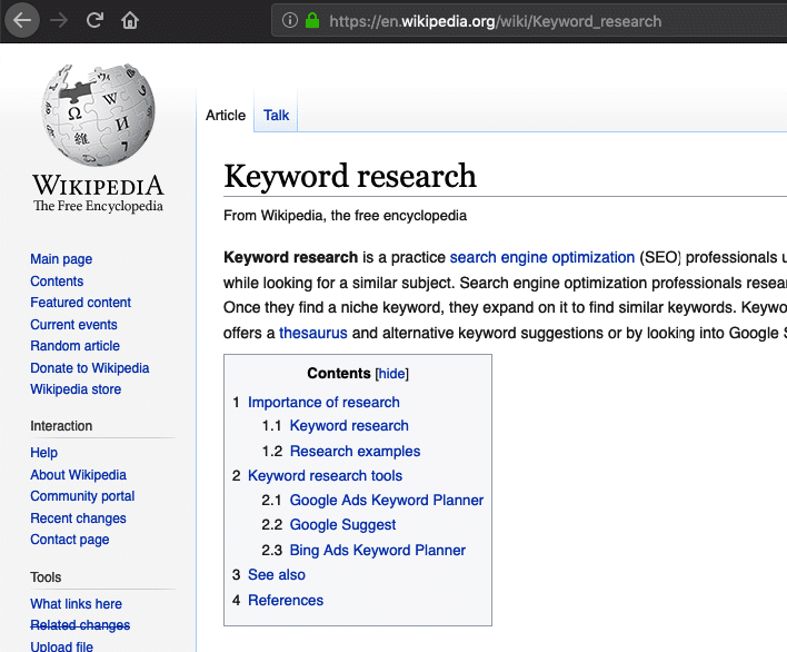 wikipedia example keyword research